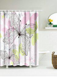Butterfly Pattern Waterproof Fabric Shower Curtain