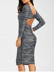 Sexy Scoop Neck Long Sleeve Bodycon Backless Women's Dress