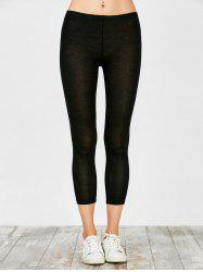 Elastic Waist Narrow Feet Solid Candy Color Stretchy Casual Women's Legging - BLACK