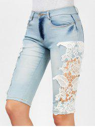 Fashionable Crochet Flower Splicing Denim Fifth Pants For Women - LIGHT BLUE