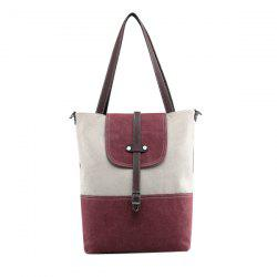 Canvas Color Block Shoudler Bag