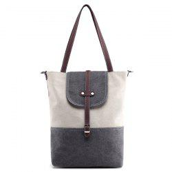 Canvas Color Block Shoudler Bag - GRAY