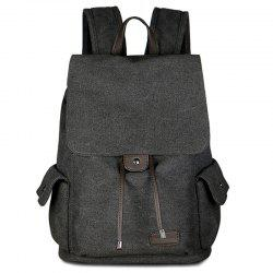 Casual Side Pockets Canvas Backpack - BLACK