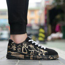 Tie Up Line Printed Casual Shoes - Noir Et Or