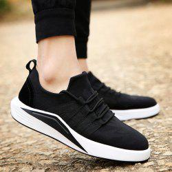 Suede Insert Printed Casual Shoes - BLACK