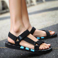 Plastic Striped Strappy Sandals - BLUE AND BLACK