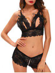Cut Out Panties and Bra Lace See-Through Bra Set - BLACK