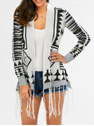 Fashionable Geometric Pattern Tassel Embellished Long Sleeve Cardigan For Women -