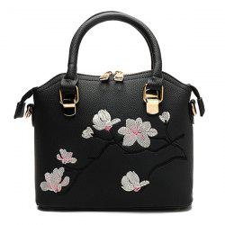 Faux Leather Blossom Embroidered Handbag - BLACK