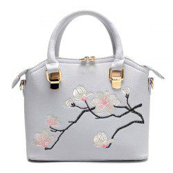 Faux Leather Blossom Embroidered Handbag