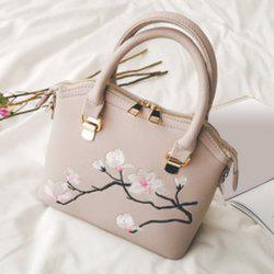 Faux Leather Blossom Embroidered Handbag - BEIGE