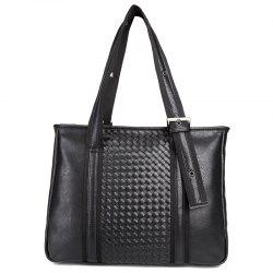 Woven Faux Leather Eyelets Tote Bag