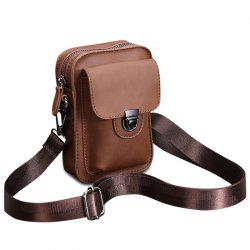 Stitching Push Lock Crossbody Bag - COFFEE