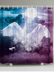 Mew Swan Polyester Fabric Shower Curtain