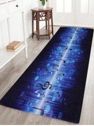 Non-slip Coral Velvet Music Note Floor Rug - BLUE