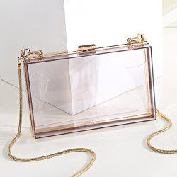Snake Chain Metal Trimmed Evening Bag - Transparent