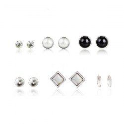 Rhinestone Alloy Feather Ball Stud Earring Set