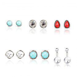 Faux Turquoise Rhinestone Teardrop Circle Earring Set