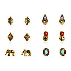 Faux Gemstone Leaf Oval Elephant Stud Earring Set