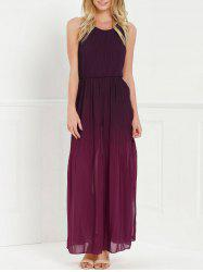 Halter Sleeveless Ombre Chiffon High Slit Maxi Party Dress