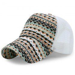 Mesh Splicing Wavy Rhombic Printed Baseball Hat