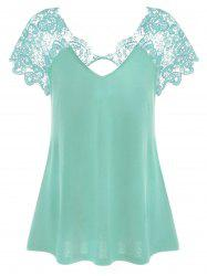 Lace Panel Cut Out T-Shirt - MINT