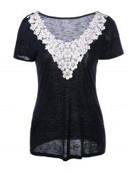 Crochet Flower Neck Heather T-Shirt