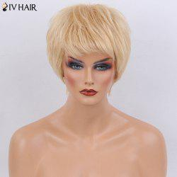 Siv Hair Short Side Bang Layered Silky Straight Human Hair Wig