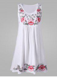 Sleeveless Flower Embroidery Dress - WHITE