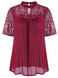 Lace Panel Crinkle Blouse
