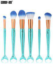 MAANGE 6Pcs Plated Mermaid Design Makeup Brushes Set