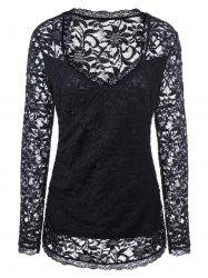 Sweetheart Neck Lace Cutwork Plus Size Blouse