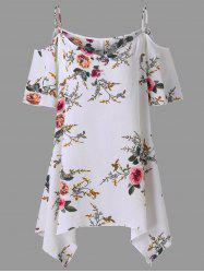 Plus Size Dew Shoulder Floral Blouse - WHITE