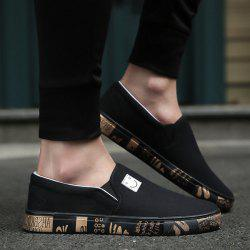 Slip On Letter Printed Canvas Shoes - BLACK