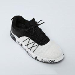 Letter Printed Athletic Mesh Trainers - WHITE
