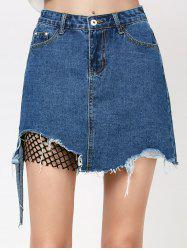 Ripped A Line Jean Skirt with Fishnet