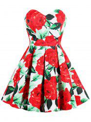 Vintage Floral Print Strapless Sweetheart Dress