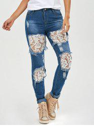 Lace Insert Ripped Skinny Jeans - DENIM BLUE