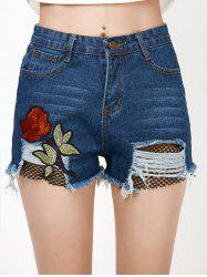 Rose Embroideried Ripped Jean Shorts with Fishnet - DENIM BLUE
