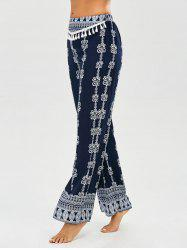 Vintage Print Tassel Straight Pants - PURPLISH BLUE