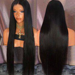 Ultra Long Center Part Straight Synthetic Wig - NATURAL BLACK