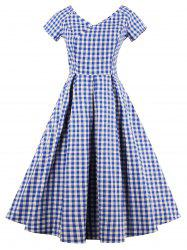 V Neck Checked A Line Dress - Bleu