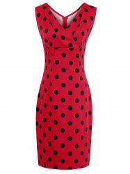V Neck Polka Dot Sheath Dress - RED