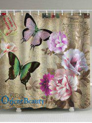 Vintage Waterproof Butterfly Flower Shower Curtain