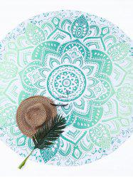 Lotus Flower Round Beach Cover Throw - GREEN
