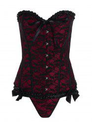 Plus Size Lace Up Lace Corset - WINE RED