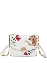 Flap Embroidered Crossbody Bag