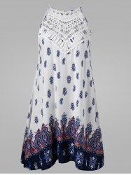Cutwork Tie Back Sleeveless Dress - COLORMIX
