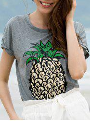 Stylish Round Neck Short Sleeve Fruit Print Women's T-Shirt