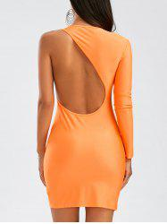 Long Sleeves One-Shoulder Backless Bodycon Club Dress - ORANGE